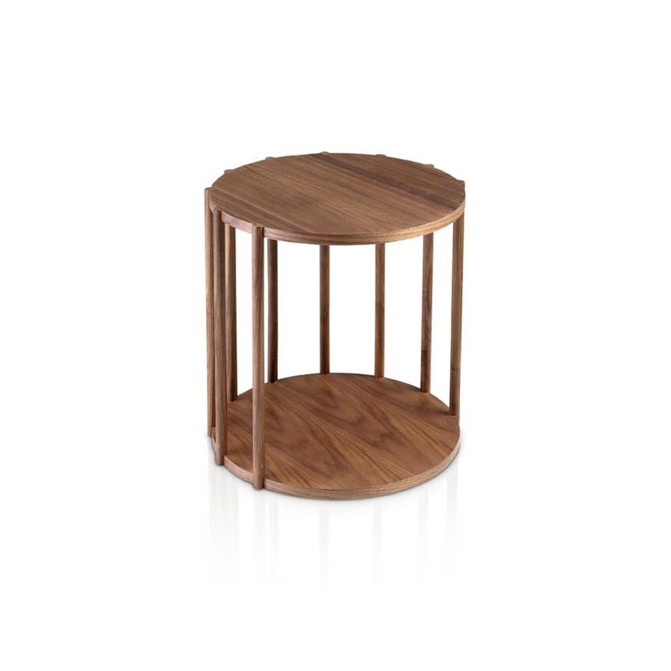 Mesa de café de madera Nogal, Mesa café de diseño Italiano, Mesa auxiliar de rincón, Mesa 2039   Angel Cerdá S.L