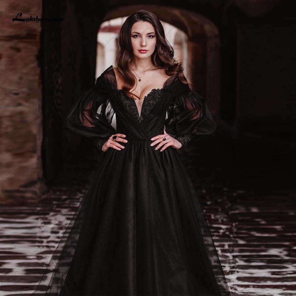 Promo Lakshmigown Black Dress Women Puffy Long Sleeve Wedding Gowns 2022 Vestido Longo Festa Sweetheart Beaded Gothic Bridal Dresses