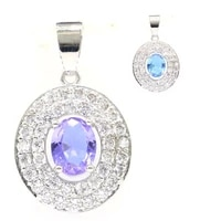 30x18mm beautiful created color changing alexandrite topaz white bright cubic zirconia ladies party silver pendant