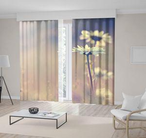Curtain Vintage Daisy Chamomile Flowers Field at Sunrise Romantic Peaceful Nature Photo Beige