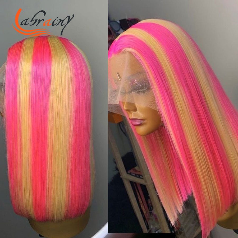 13X6 кружевной фронтальный с al-хайлайтером розовый желтый боб парик из человеческих волос Омбре 613 блонд Hd прозрачный кружевной фронтальный п...