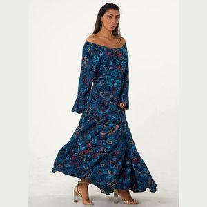Women's Blue Carmen Neckline Ruffled Ethnic Pattern Daily Summer Long Dress