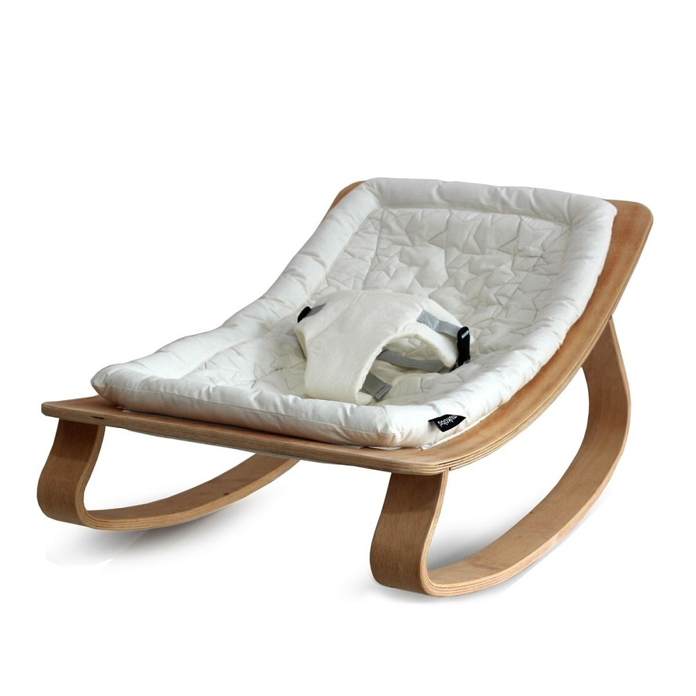 Newborn Baby Rocker Wooden with Sweet Cushion Natural Wooden Rocking Baby Cribs Newborn Infant Sleeping Bed Baby Bouncer