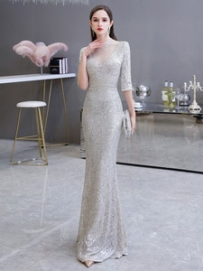 Evening Dress Mermaid Beaded Illusion Neck Sequined Half Sleeve Floor Length Sequins Formal Party Dresses