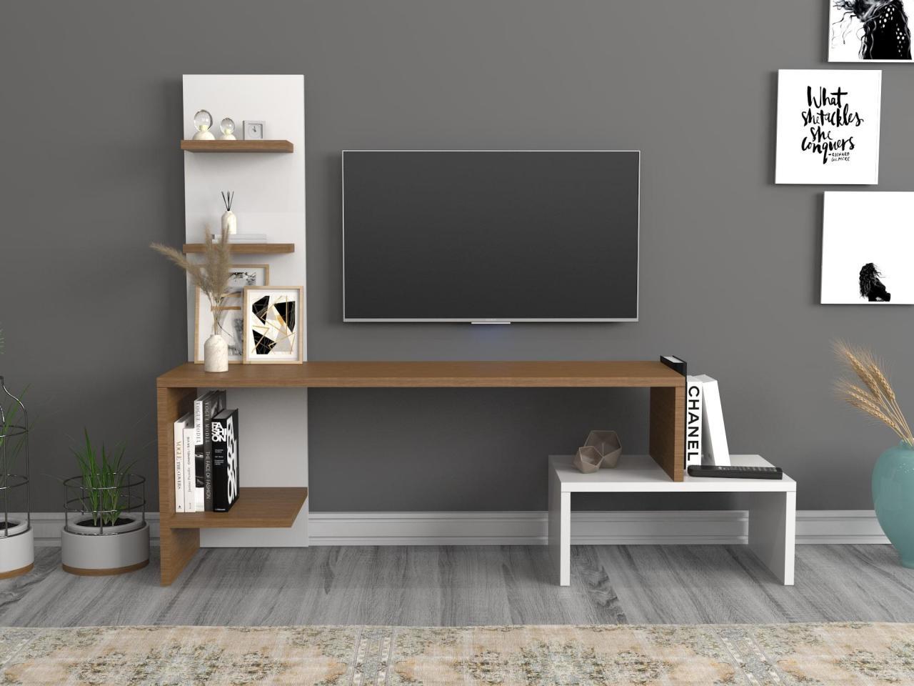 Home Furniture Tv Furniture Living Room Furniture TV Table TV Cabinet Sara Tv Stand Walnut