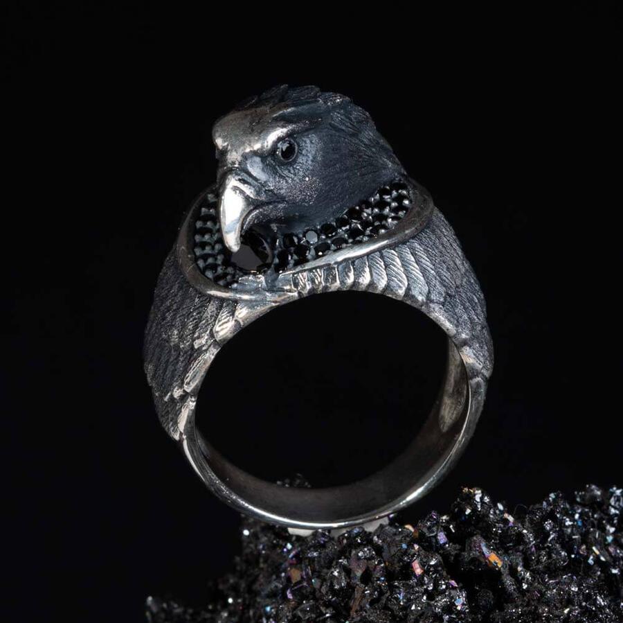 ثلاثية الأبعاد طوق رأس النسر الطائر الأسود حجر كريم زركون حلقة الحيوان الرجال المجوهرات الفضية أعلى جودة المألوف