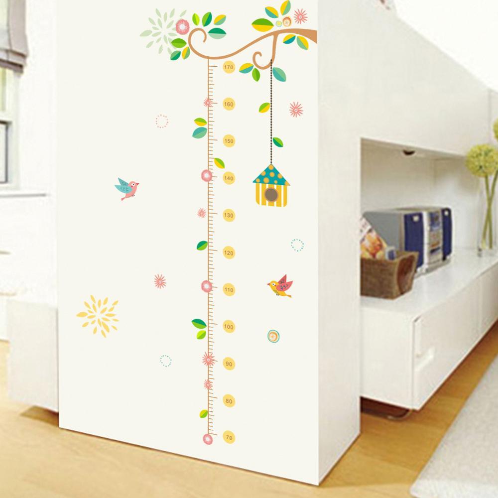 Selva altura medida adesivo de parede para crianças quartos folhas árvore verde país estilo crescimento régua adesivos berçário decoração para casa