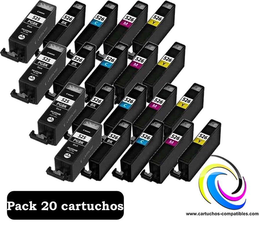 Canon CLI-526 / PGI-525 Pack XL 20 compatível MG6120 MG6150 MG6250 MG6550 MG8120 MG8150 MG8250 MX715 MX882 MX885