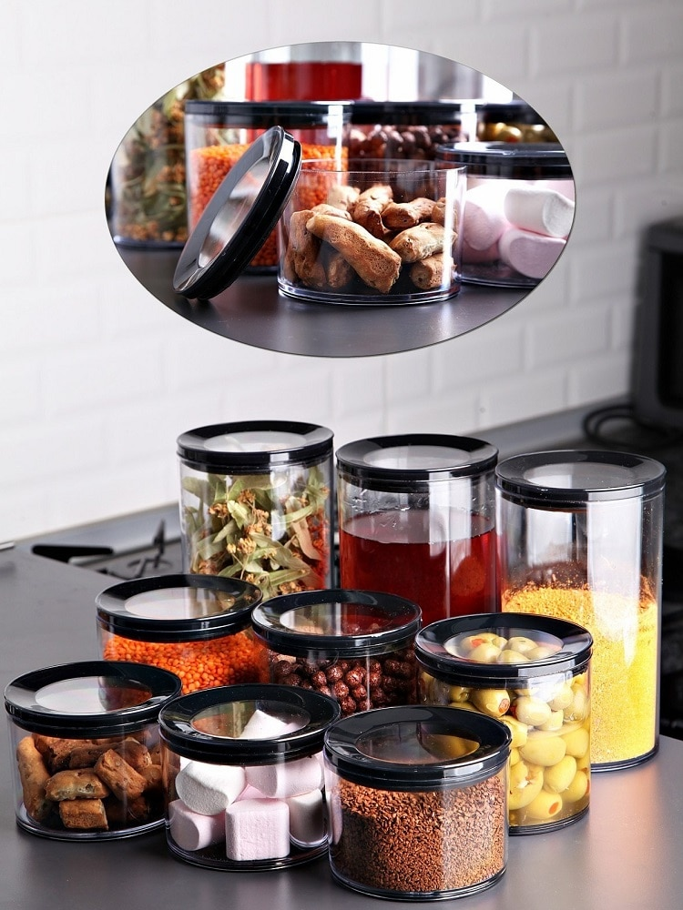 Kitchen Food Storage Box Organizer Glass Container Set 3/9 PCS Refrigerator Multigrain Woman Noodle Jars Transparent Sealed Cans