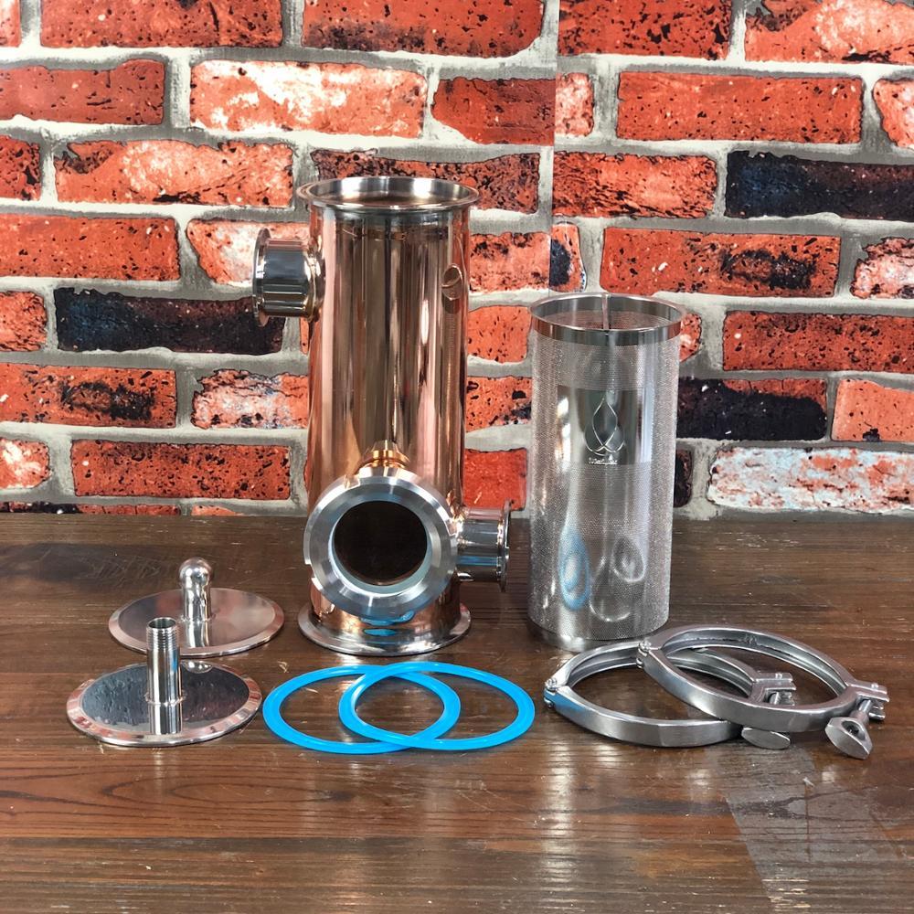 مشبك 4 بوصة (OD119mm) منافذ جانبية 2 بوصة سلة الجن النحاسية ، سلة عطرية حجم 1500 مللي المنزل التقطير. Distillex.