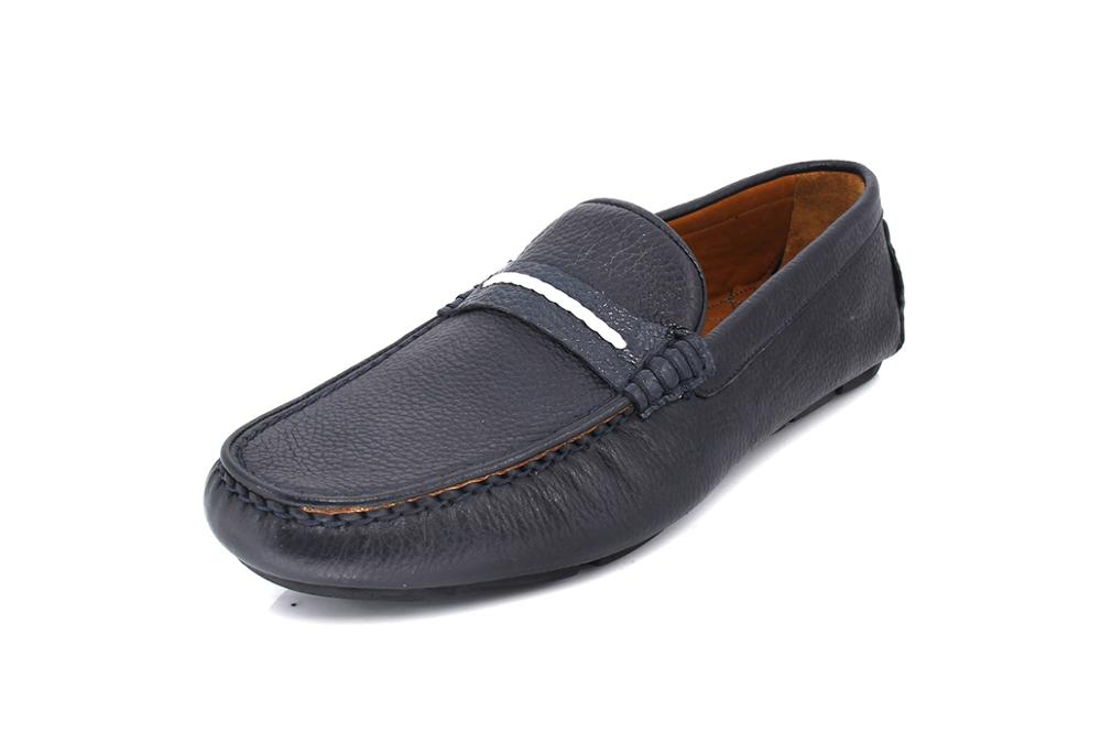 SHENBIN's Handmade Moccasins, Dark Blue Floater Leather, Comfortable Casual Daily Footwear by Shenbins Factory