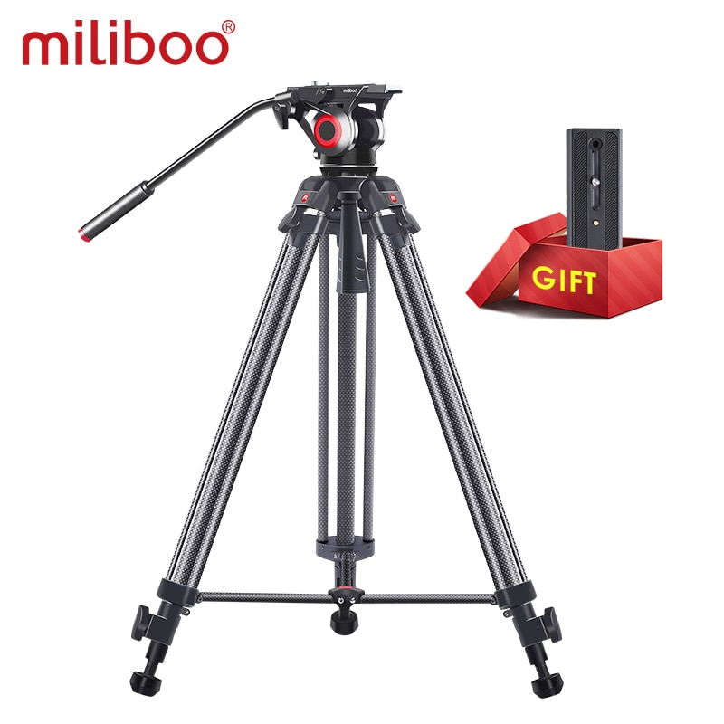 Miliboo MTT606 خفيفة الوزن حامل فيديو ثلاثي القوائم السفر حامل ثلاثي القوائم/Dslr ترايبود السائل رئيس مع منتصف الموزعة QR لوحة كهدية