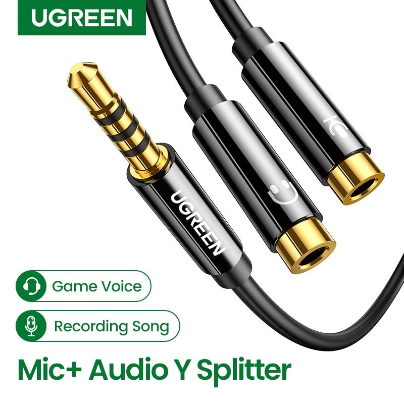 Ugreen-Divisor de Audio 3,5mm, Cable para conector de ordenador 3,5mm, 1 macho...