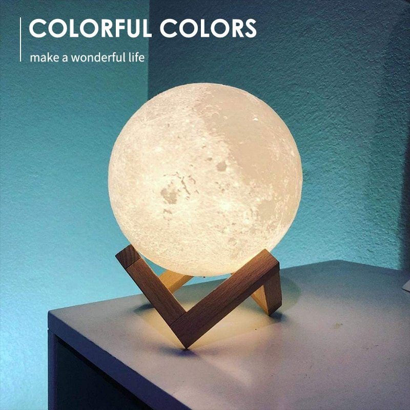 Creative LED Night Light 3D Print Moon Lamp Rechargeable 16 Colors Change Remote Control Lamp Kid's