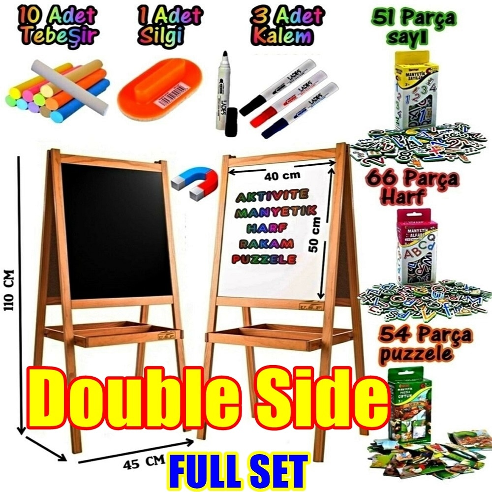 Wooden Double Side Portable Blackboard Easel Magnetic Chalkboard Stand Bracket Sketchpad Kids Writing Letters Numbers Puzzles