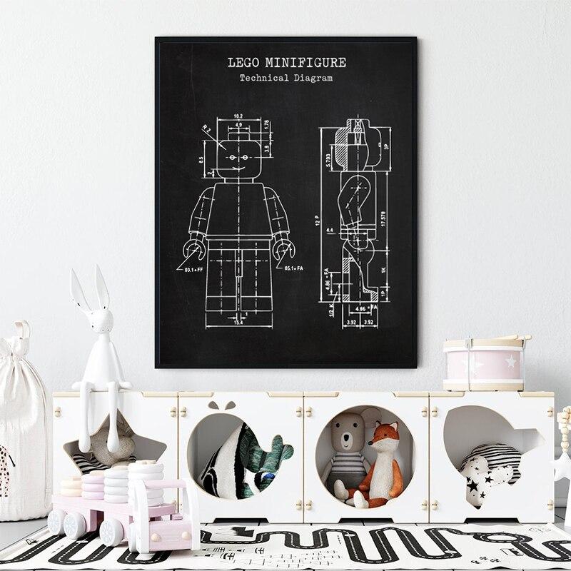 Cartaz do vintage da patente do homem de legos, arte da parede do brinquedo para o amor de legos, decoração do quarto das crianças, idéias do presente do projeto de legos, impressões da arte da parede dos jogos