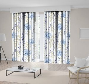 Curtain Fresh Spring Flowers Leaves Pattern Seasonal Wild Nature Blooms Plants Classic Artwork Beige Blue