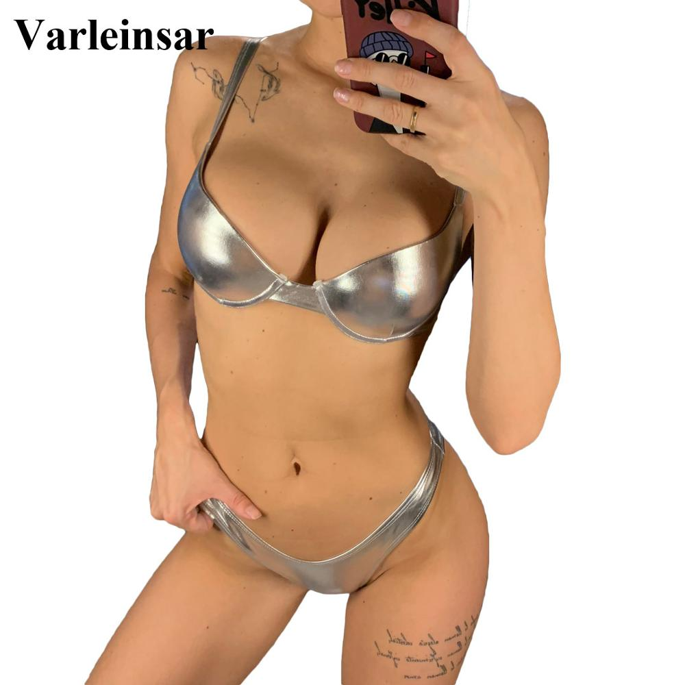 Push Up Bikini Brazilian Shiny Swimsuit Female Swimwear Women Two-pieces Bikini set with Bra Cup Bather Bathing Suit Wear V1376