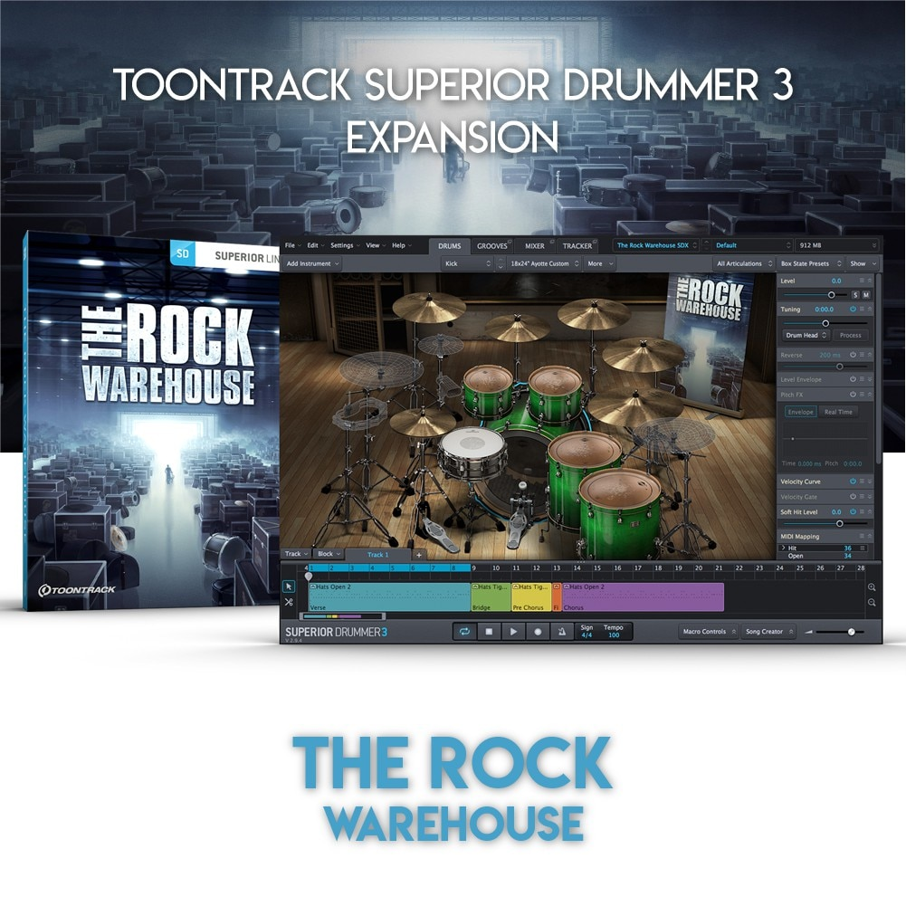 THE ROCK WAREHOUSE - TOONTRACK SUPERIOR DRUMMER 3 EXPANSION (WINDOWS 64BIT VSTi)