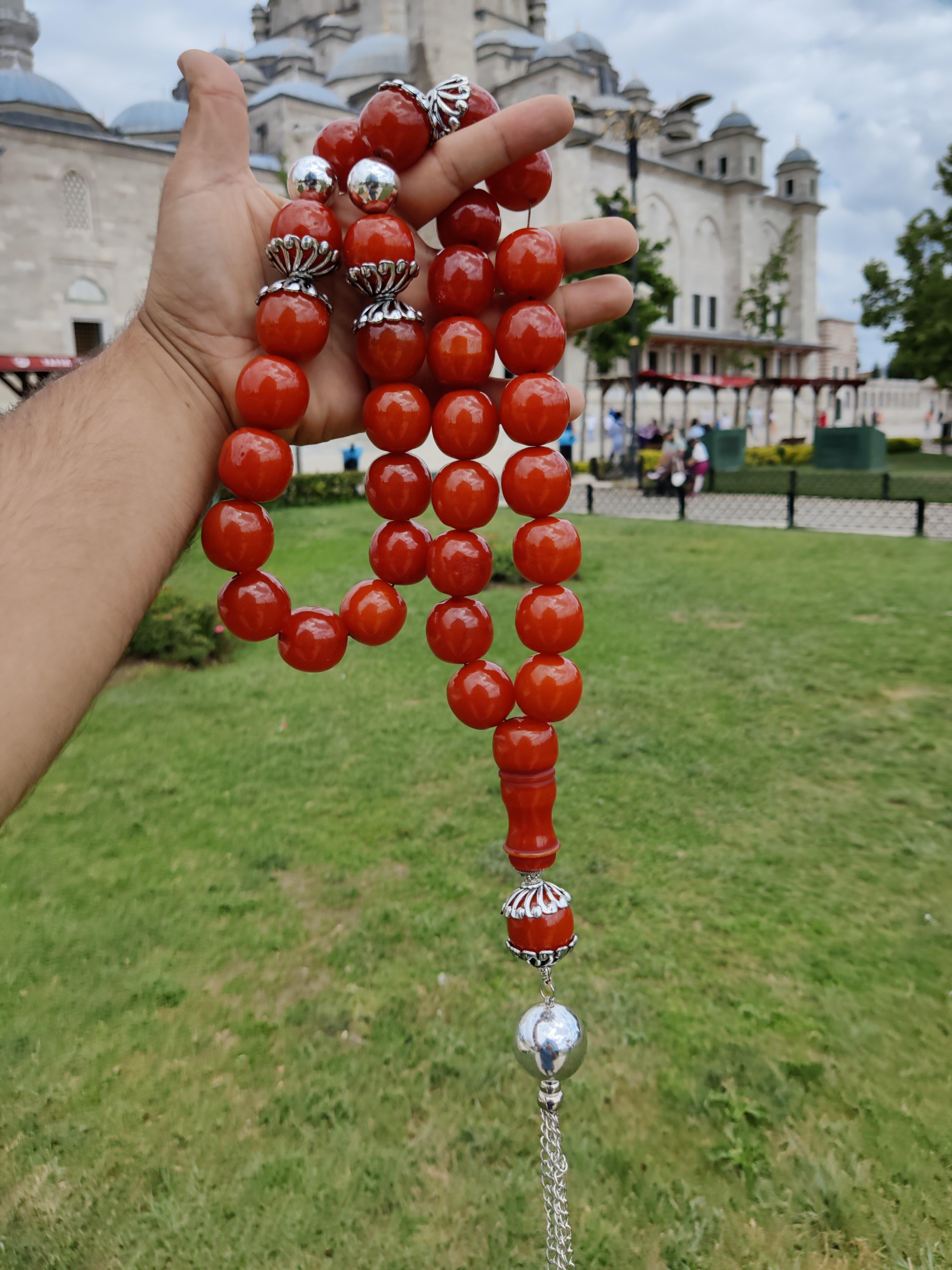 Ottoman Rare Antique Faturan German Amber Sandalous Misbaha Prayerbeads Rosary Tasbih Tesbih  Cherry  Gift