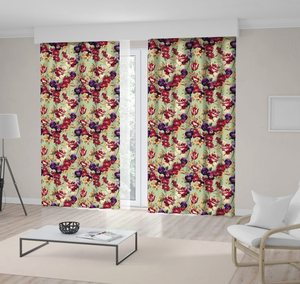 Curtain Floral Pattern Red Purple FlowersTulips Pansy and we are Glad to offer on Green Watercolor Style Art Printed