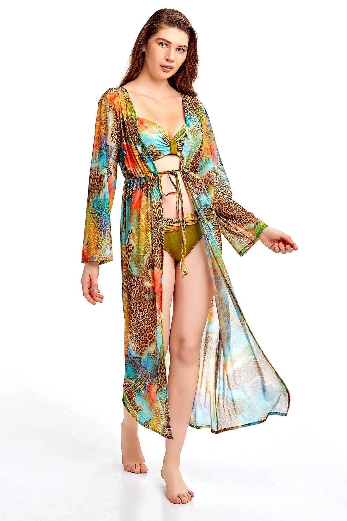 Oil Green Color Leopard Pattern Sexy Pareo For Women 2021 New Fashion Lightweight Beach Dress Very Elegant Pool Wear