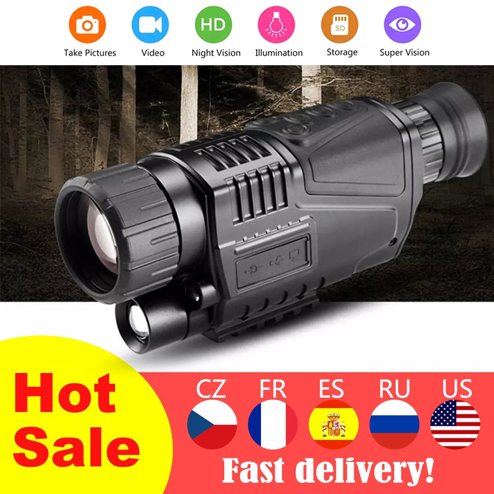 Night Vision Monocular Telescope HD Digital Infrared Monocular Take Photos and Videos Playback Function for Hunting