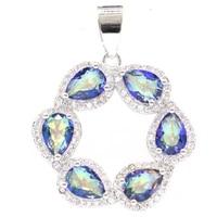 33x26mm dazzing 4 3g fire rainbow mystic topaz cz women wedding 925 sterling silver pendant