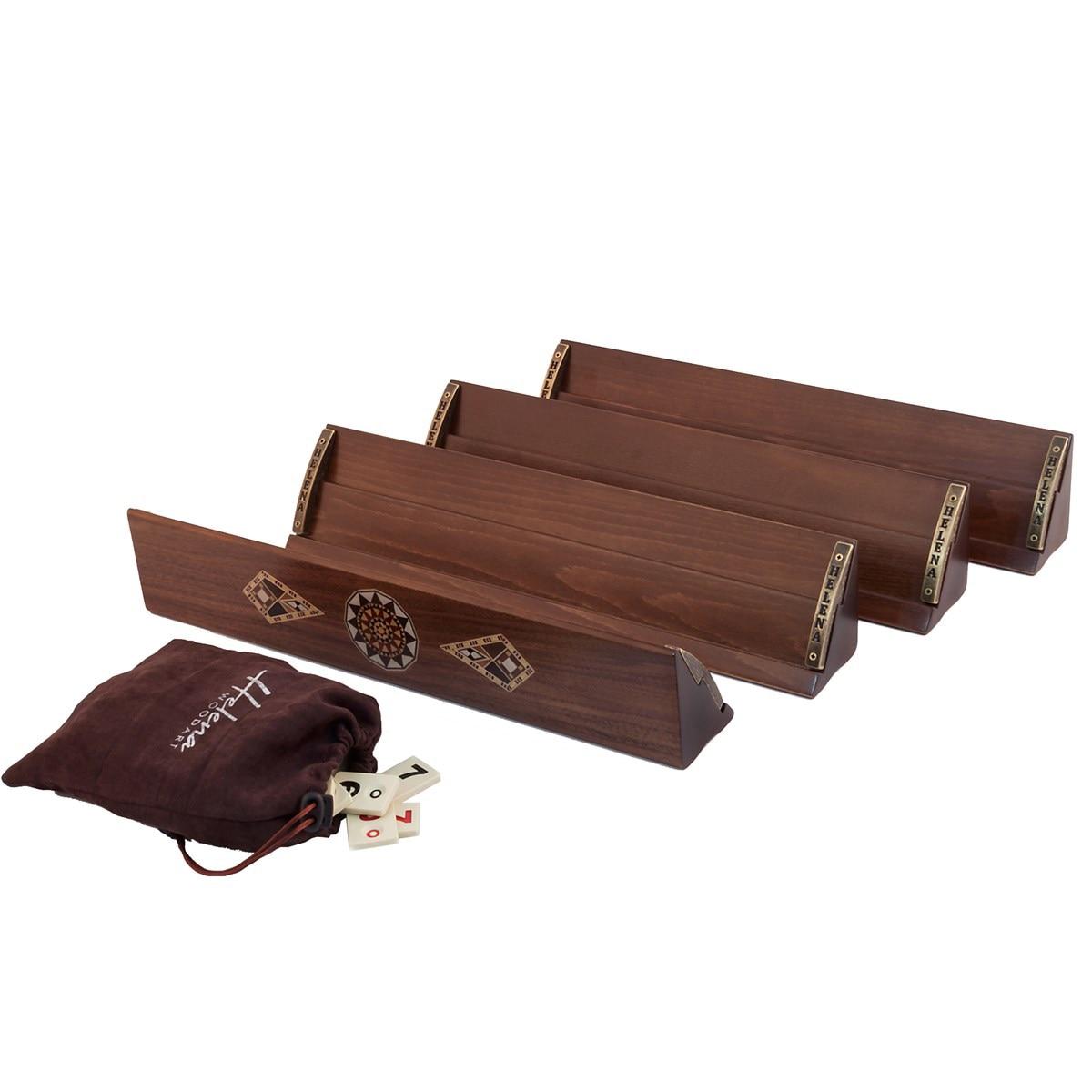Luxury Handmade Rummy Game Set Walnut Solid Wood Rummykub 4 People Rummikub BoardGame Top Quality Gift Rumikub Ahsap Okey Takımı