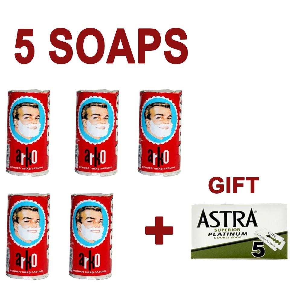 5 Pieces Arko Shaving Barber Soap Creamy Lather Foam Safety Razor Brush  Gift Men  jabón de afeitar мыло для бритья סבון גילוח