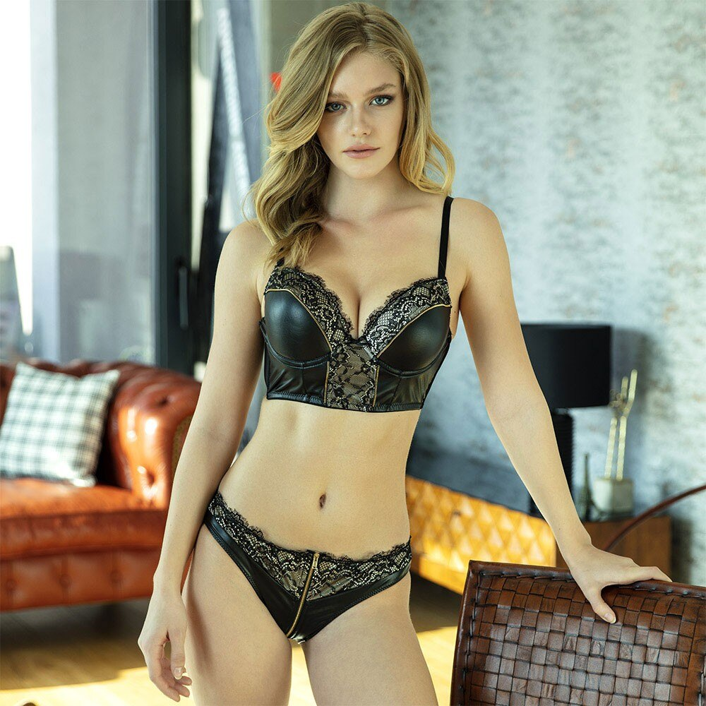 Sexy Enchanting Lingerie Underwire Removable Straps Lace Detail Leather Look Bustier Bra Panties Underwear Women Set