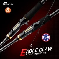 onasn eagle claw r fishing rods 1 8m 1 98m 2 1m spinning rod fuji reel seat m ml mh carbon casting travel rod for bass fishing