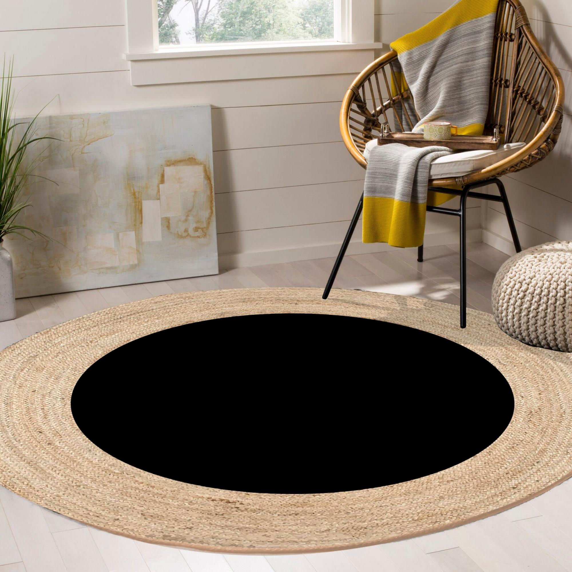 غير ذلك أسود دائري الجوت السيزال اليدوية مسطح نسج الطبيعية الجوت السجاد جولة الطابق حصيرة غرفة المعيشة غرفة نوم السيزال منطقة البساط