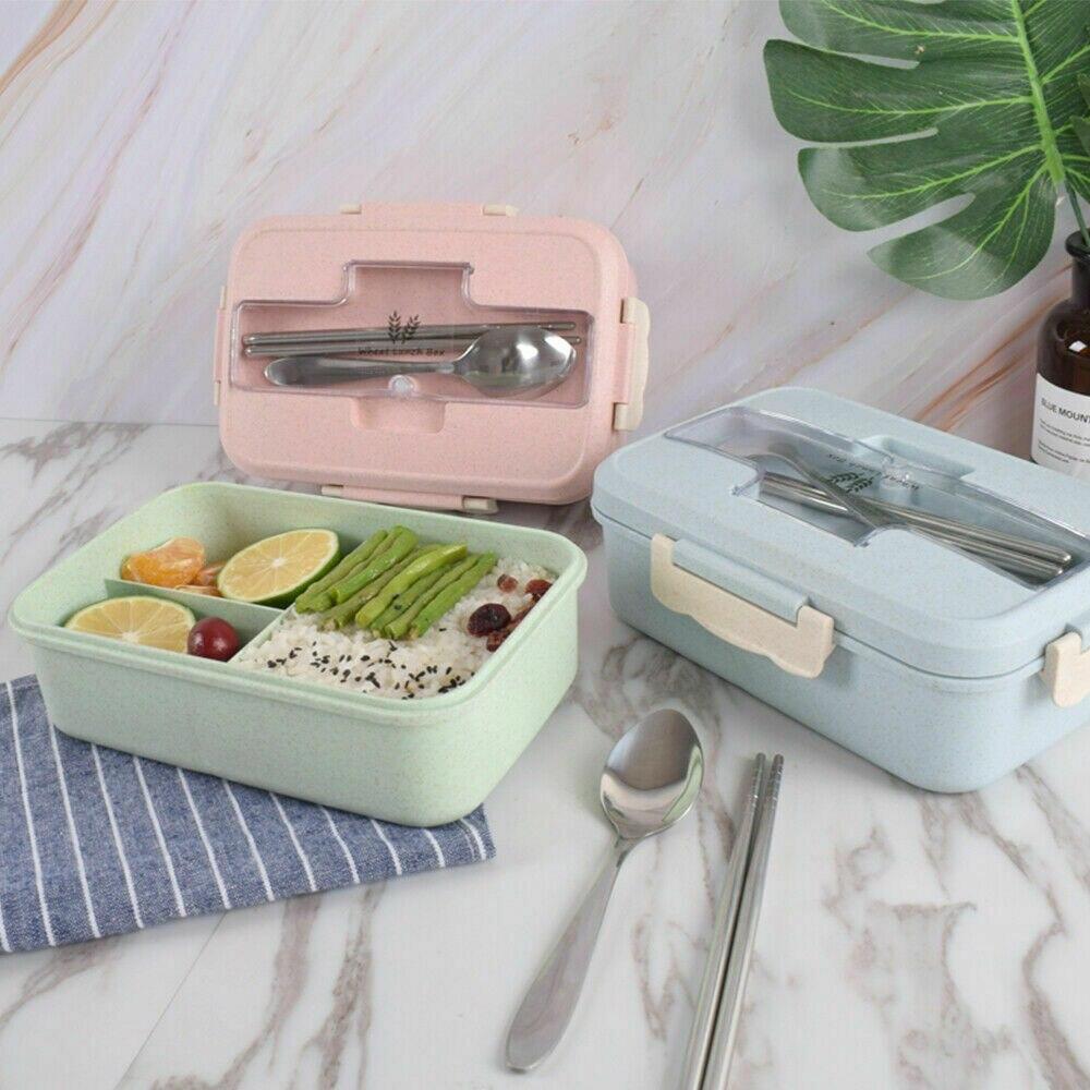 Lunch Box Tragbare Bento Box Lebensmittel Lagerung Container Mikrowelle + Löffel + Stäbchen