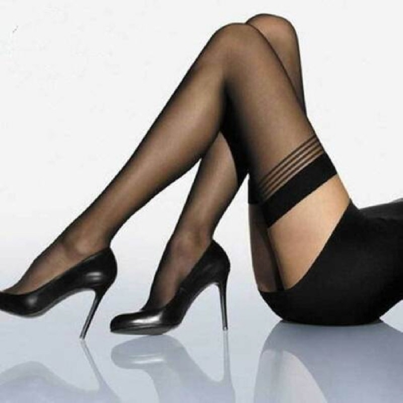 BLACK STRIPE TOP STAY UP/HOLD UPS THIGH HIGH STOCKINGS - FASHION HOSIERY  3006