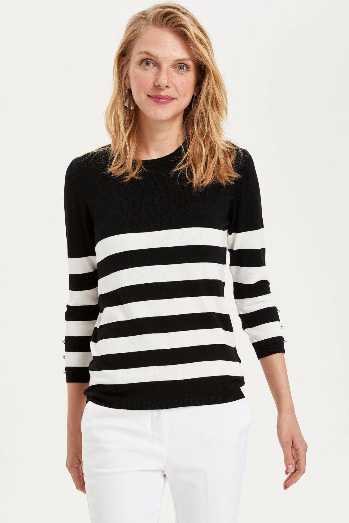 Moda de mujer de hecho negro blanco a rayas Pullover mujeres cuello redondo Casual de manga larga Camisetas para otoño Spring-K8007AZ19AU