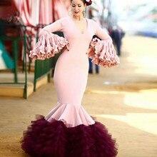 Rose bordeaux longue robe de bal sirène col en V à manches longues à plusieurs niveaux étage longueur formelle robes de soirée Vestido Festa 2020 nouveau