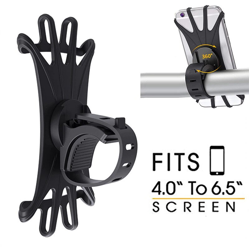 Universal Shockproof Elastic Silicone Mount Phone Holder Stand Riding Cycling Bicycle MTB Bike Phone