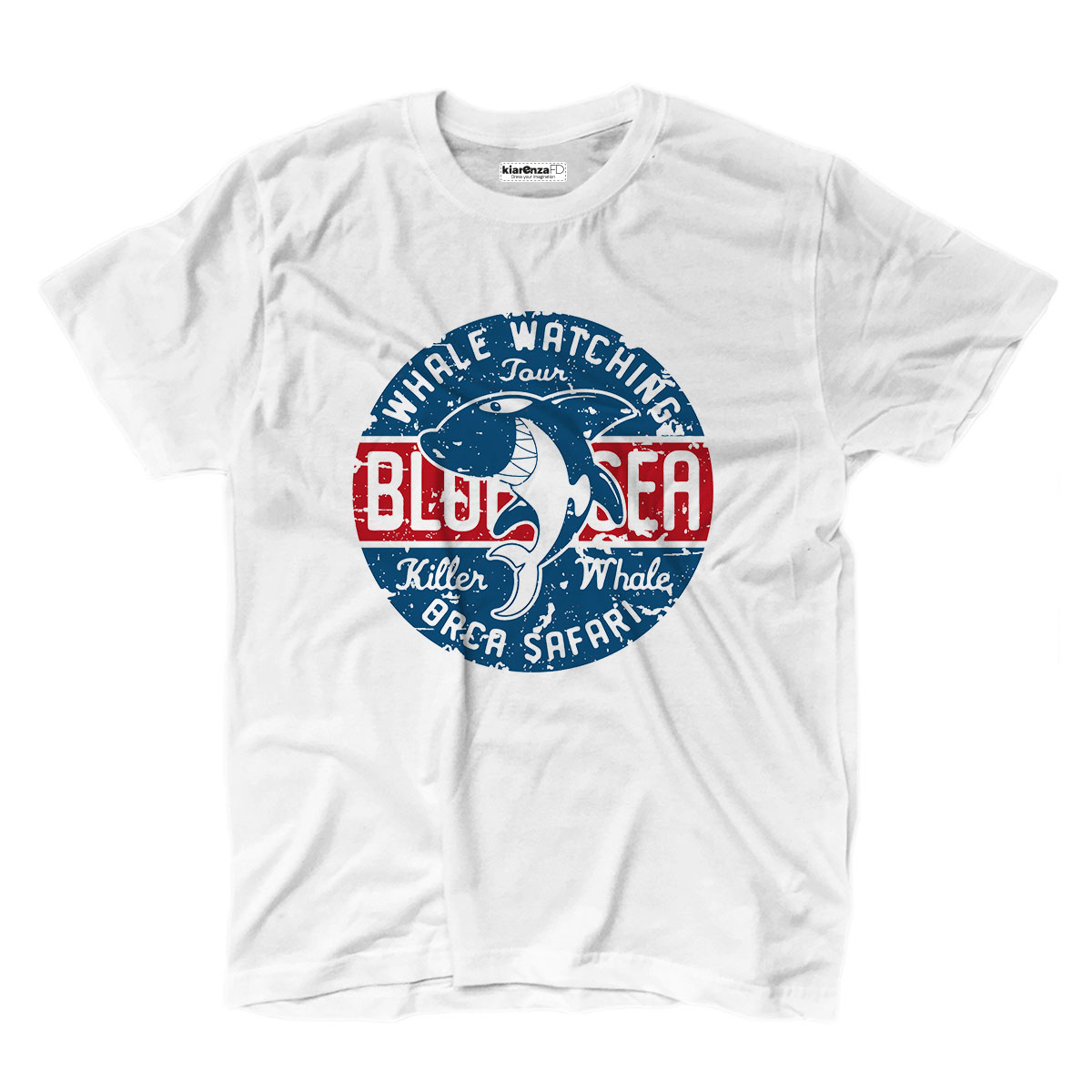 Camiseta camisetas Surf mar azul Orca playa Safari ballena Mar S blanco