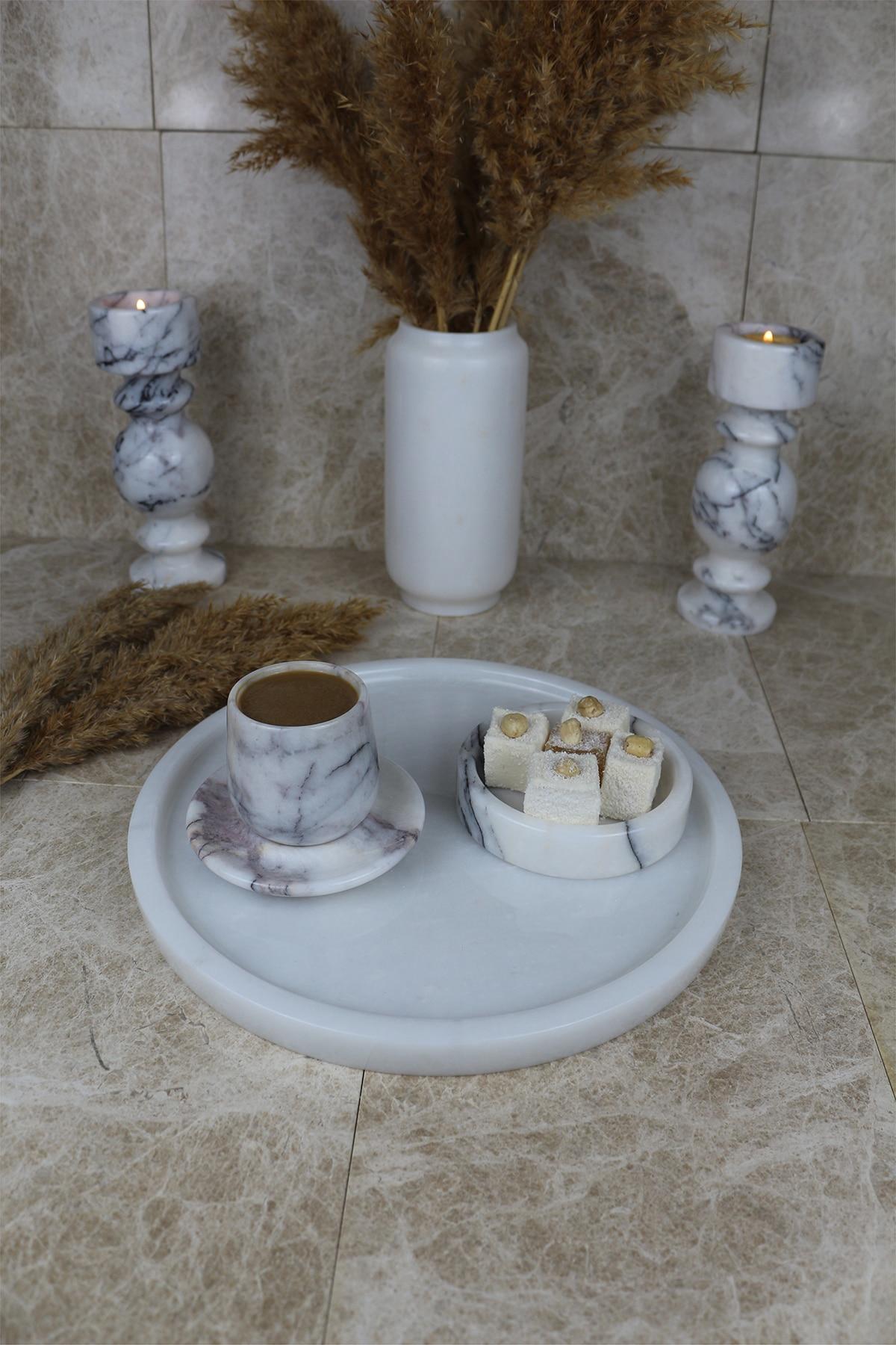 İskandinav 28cm white real natural marble tray bathroom storage round jewelry box kitchen dish dispenser luxury Tiss enlarge
