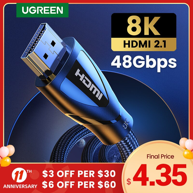 Ugreen HDMI Cable for Xbox Series X HDMI 2.1 Cable 8K/60Hz 4K/120Hz HDMI Splitter for Xiaomi Mi Box PS5 HDR10+ 48Gbps HDMI 2.1