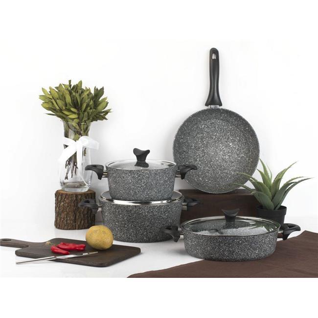 Juego de utensilios de cocina Crown Mastercook de 7 piezas de granito gris