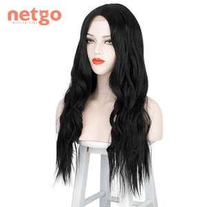 Netgo Long Wavy Synthetic Wig for Black Women Heat Resistant Fake Hair Middle Part Afro Wigs Cosplay Party Costume