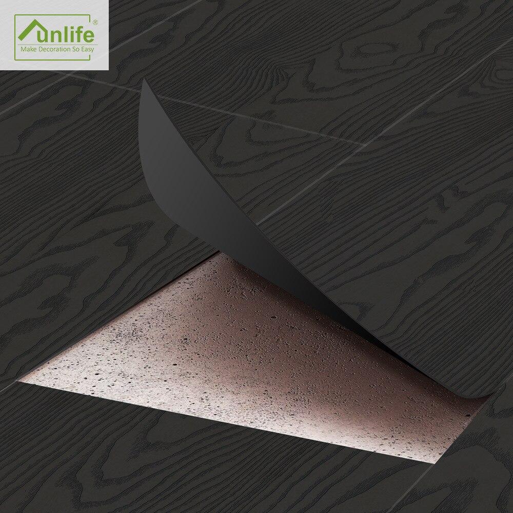 Black Wood Grain Wall Papers Home Decor Multi-function Self Adhesive Borders Bathroom Wall Sticker Renew Floor Sticker Wallpaper