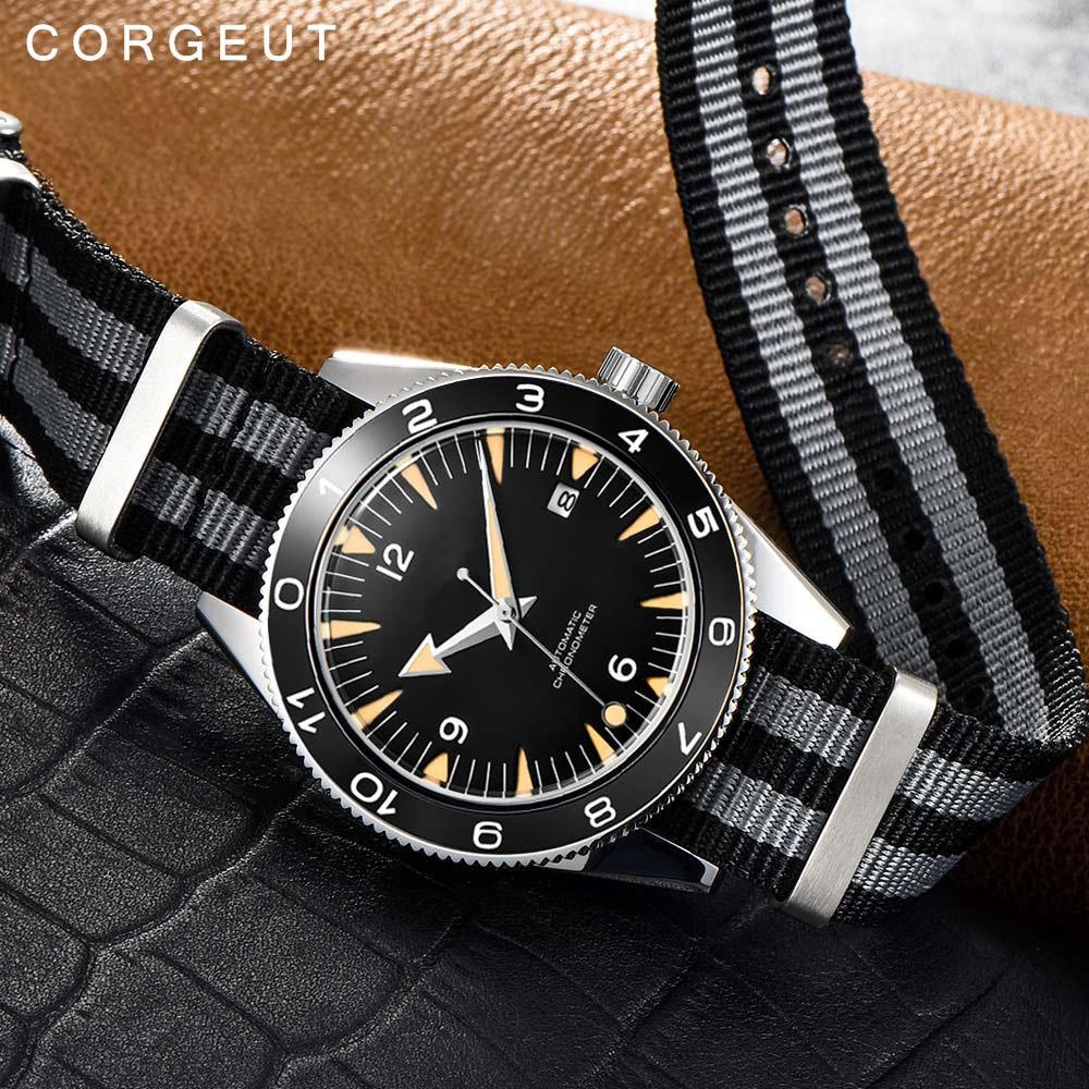Corgeut-ساعة يد رجالية ميكانيكية أوتوماتيكية مقاس 41 مللي متر ، عسكرية فاخرة 007 ، حزام نايلون ، مضيئة ، مقاومة للماء ، تقويم ، ذكر