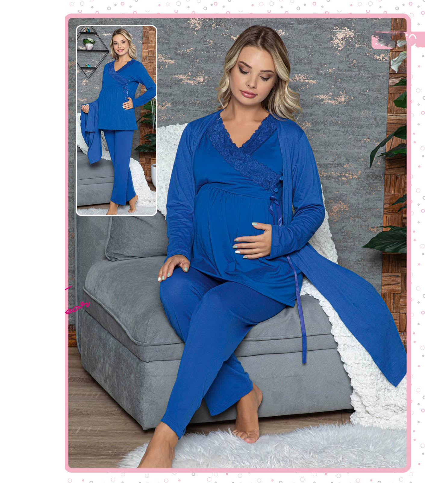 Mother Pregnancy Maternity Pajamas Set Lacy Cotton Wear at Home Comfortable Bed until Birth Soft 3 Pieces M L XL enlarge