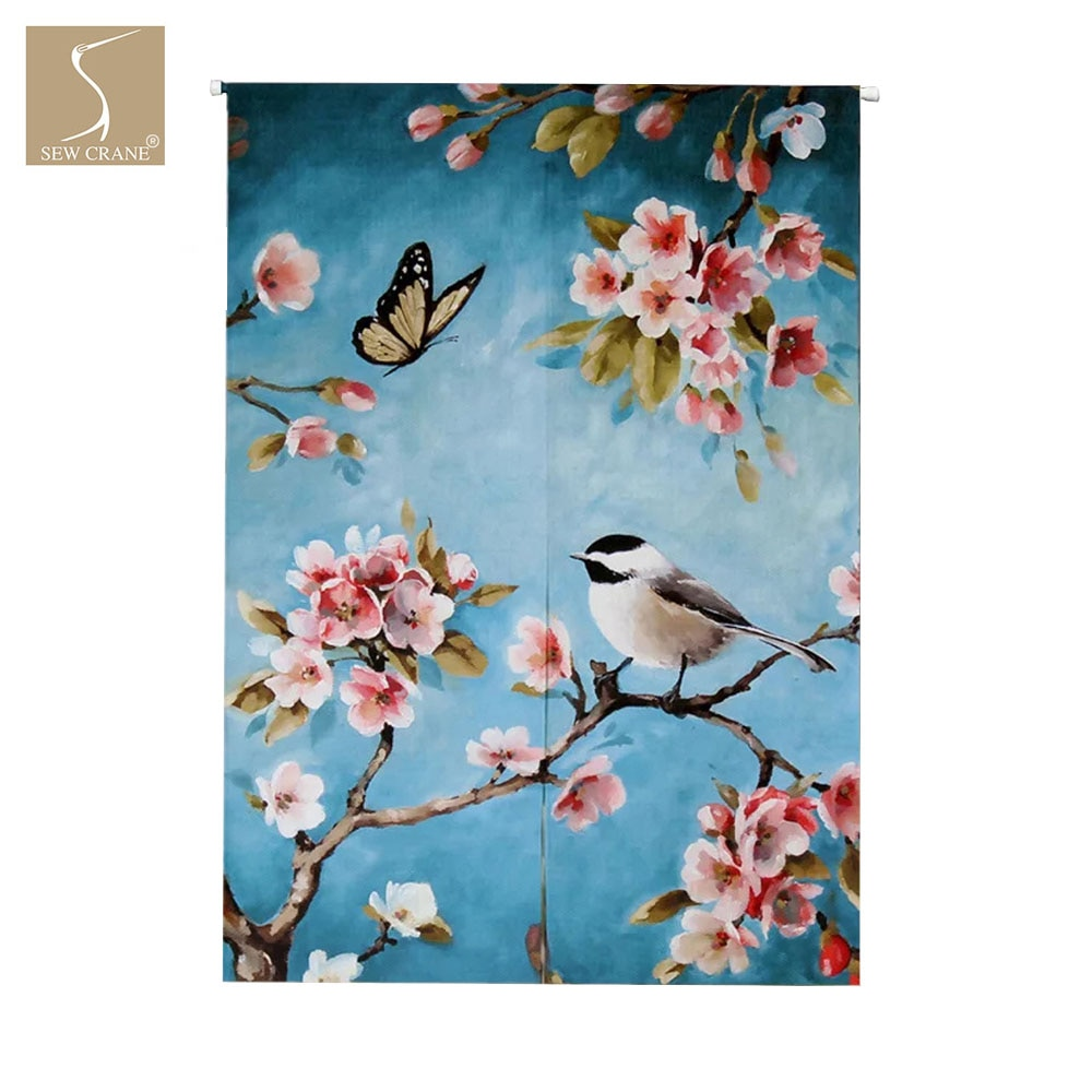 ВЕСЕННЯЯ ПТИЧКА на цвету, ветка вишневого дерева, Бабочка, синяя, домашняя, для ресторана, японская, Норен, дверной проем, занавески, разделит...