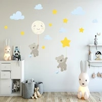 cartoon bear cloud star wall sticker childrens room bedroom study decorative wall sticker