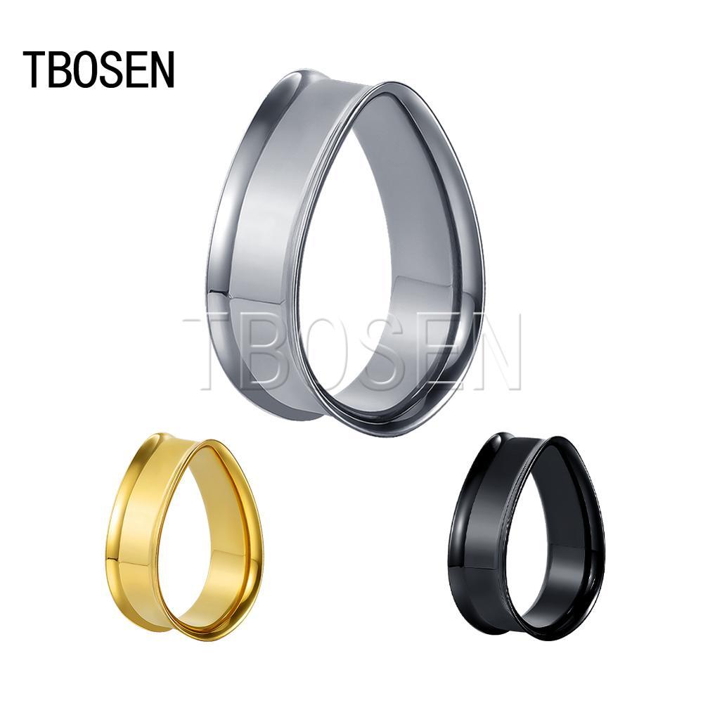 TBOSEN, nueva moda, estilo Simple, cuerno de acero inoxidable, gotas de agua, tapones para oreja, pendientes, túneles, tensores para Unisex