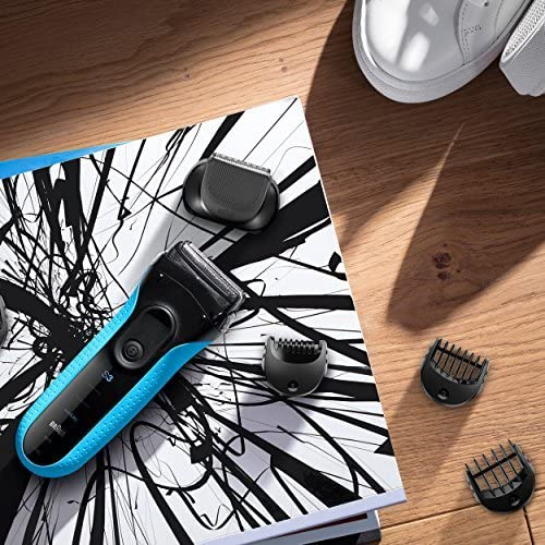 Braun Shaver 3010 BT Series 3, 3-in-1 Electric Wet & Dry Shaver with Precision Trimmer & 5 Comb Attachments, Black/Blue enlarge